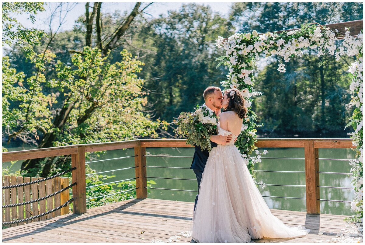 Knoxville Wedding Photographer | groom sees bride for the first time in forest in Knoxville TN