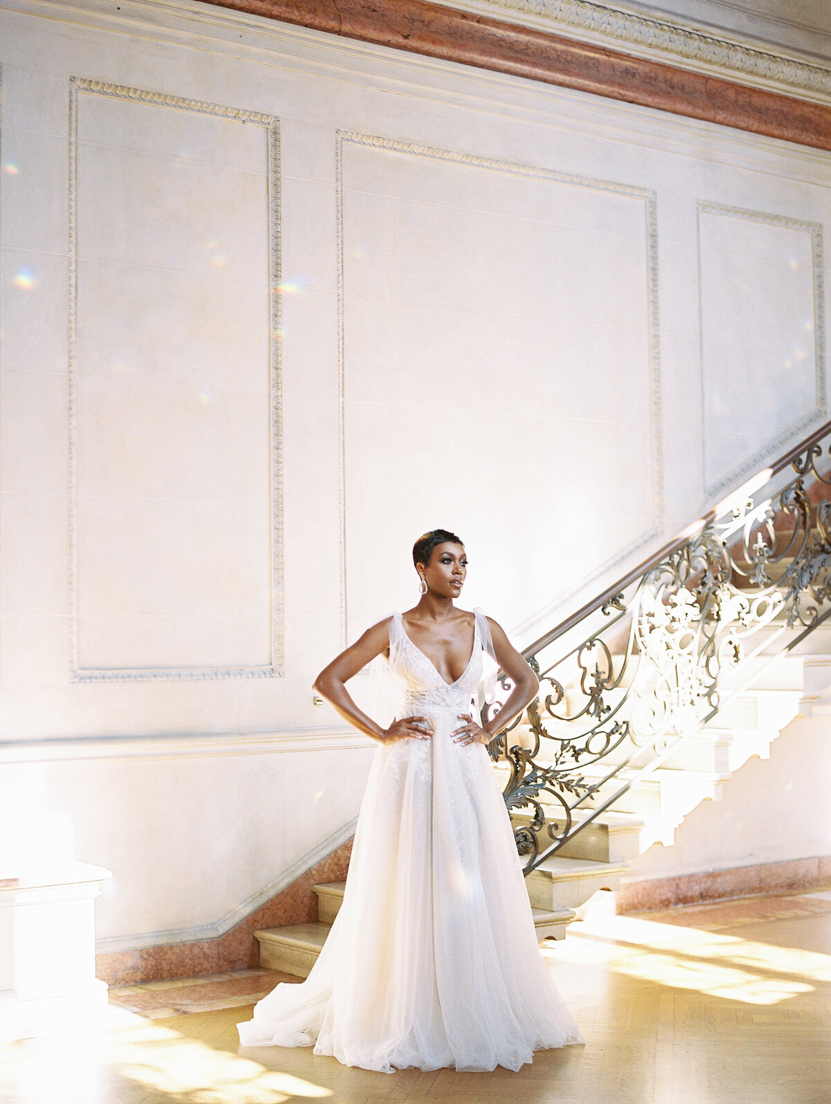 Modern Bride at The Anderson House DC Wedding Venue wearing a Berta Wedding Gown