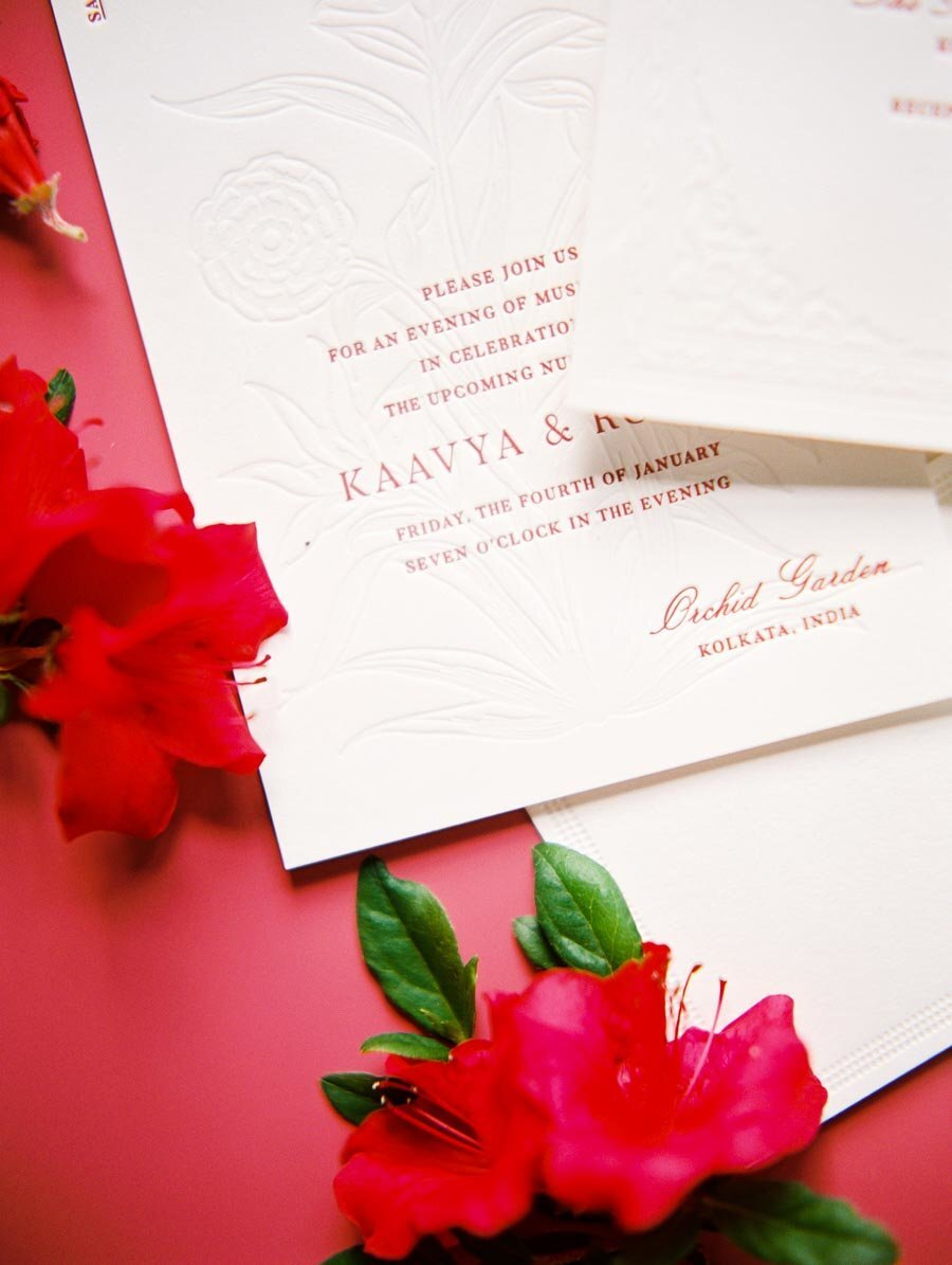 Modern Red and White Letterpress Wedding Invitation Niru & Baku Bonnie Sen Photography