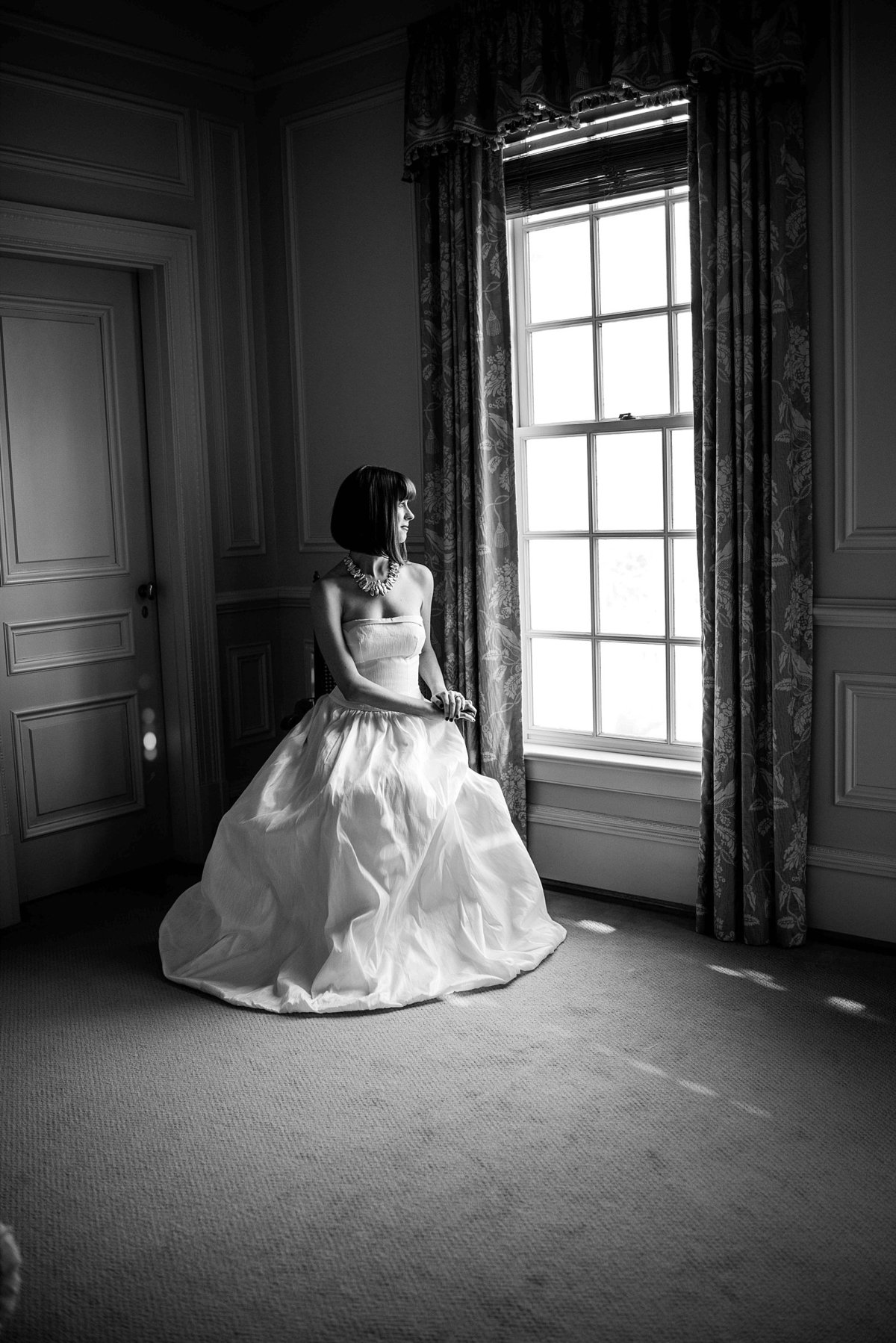 Black and White Bridal Portrait at Great Marsh Estate