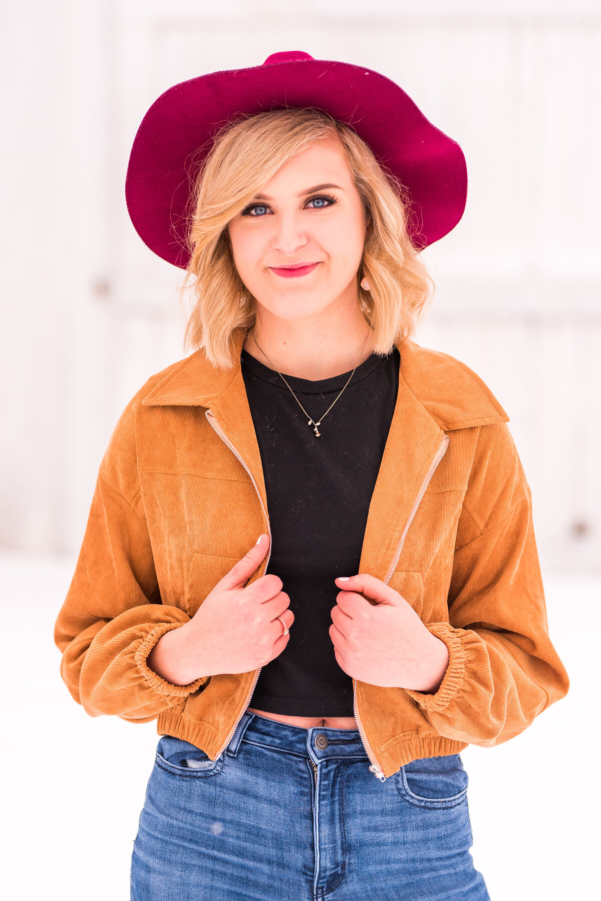 Tan Corduroy Jacket, Black Crop Top, and Maroon Hat