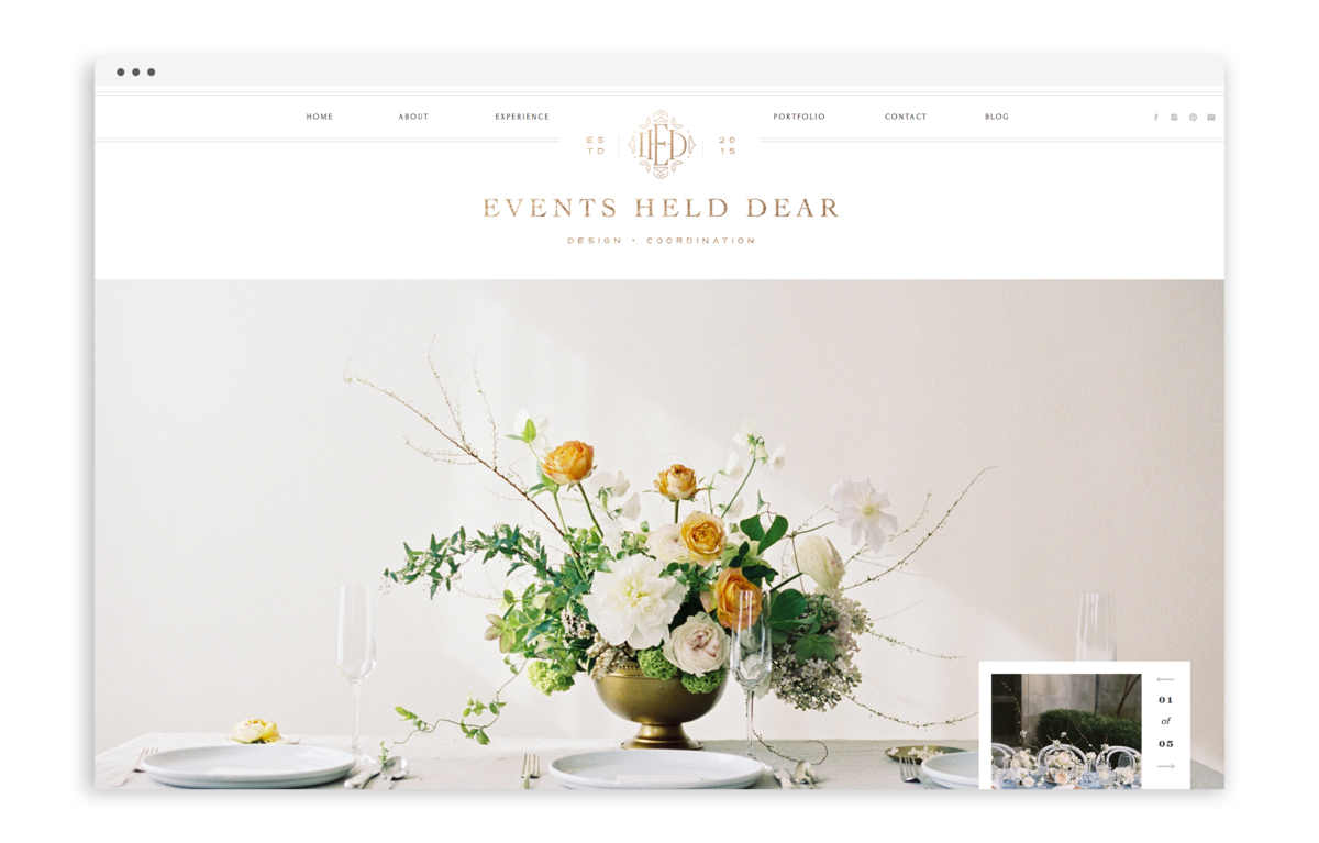 Events Held Dear - Custom Brand and Showit Web Design by With Grace and Gold - Branding and Web Design for Wedding andn Event Planners - 1
