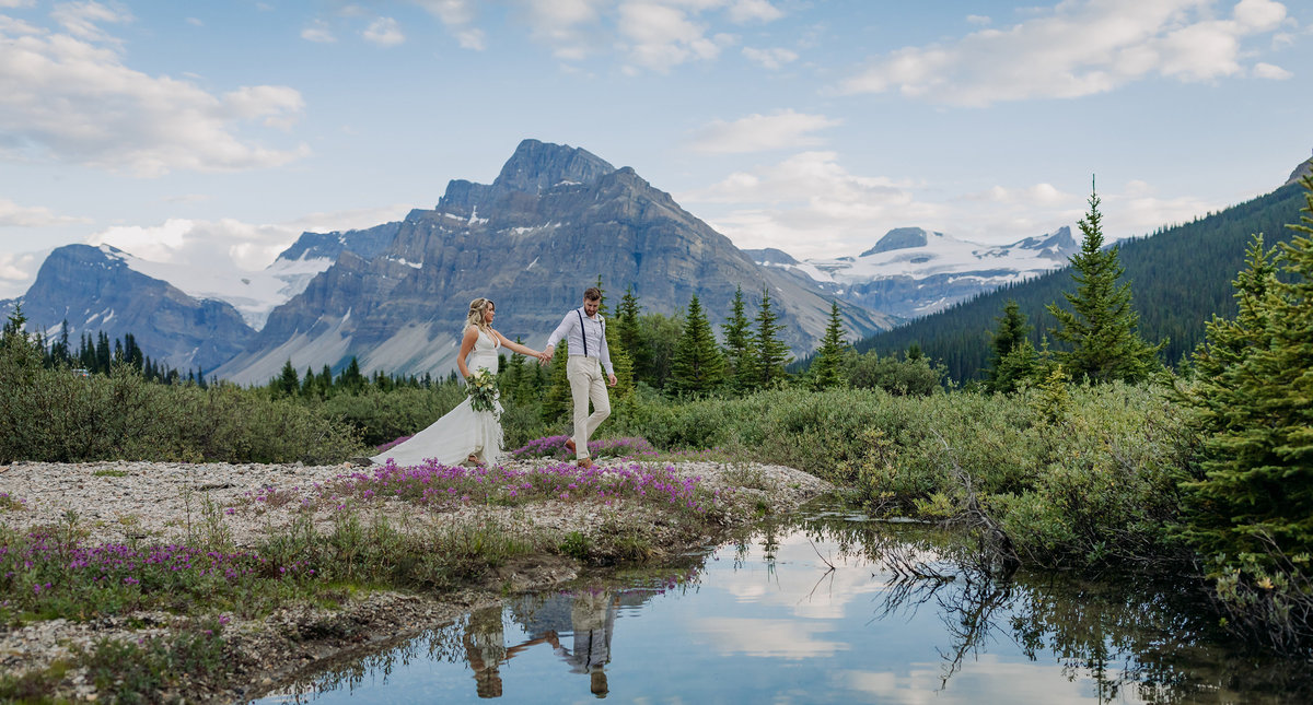 icefields parkway banff wildflower reflection boho elopement wedding