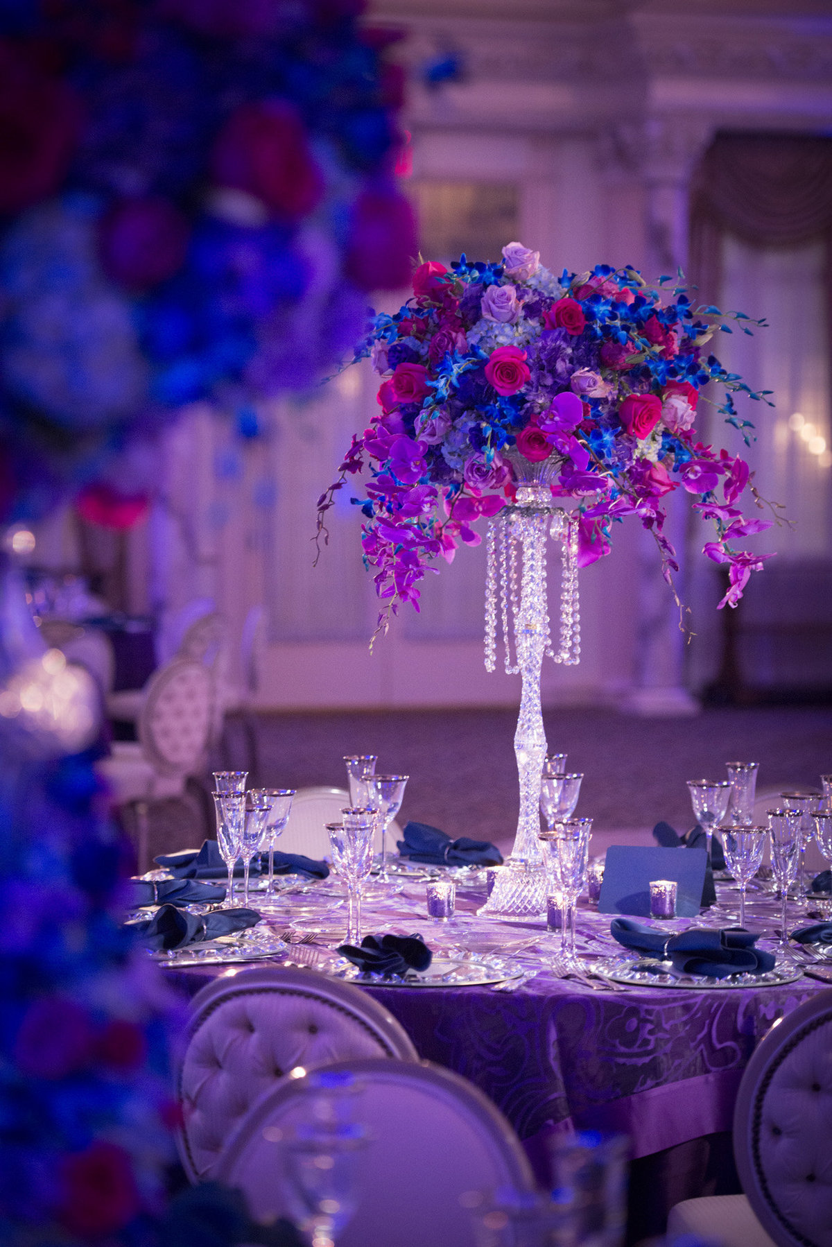 Pleasantdale Chateau Luxury NJ Wedding Purple Blue Pink Silver 13