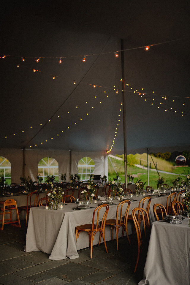 Bistro Lights in a tent Scribners Lodge Wedding Catskills Wedding Venue Wedding Planner New York Upstate Wedding Planner Canvas Weddings