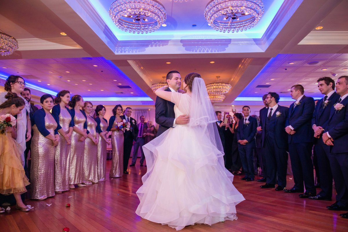 Bride and groom first dance at Watermill Caterers