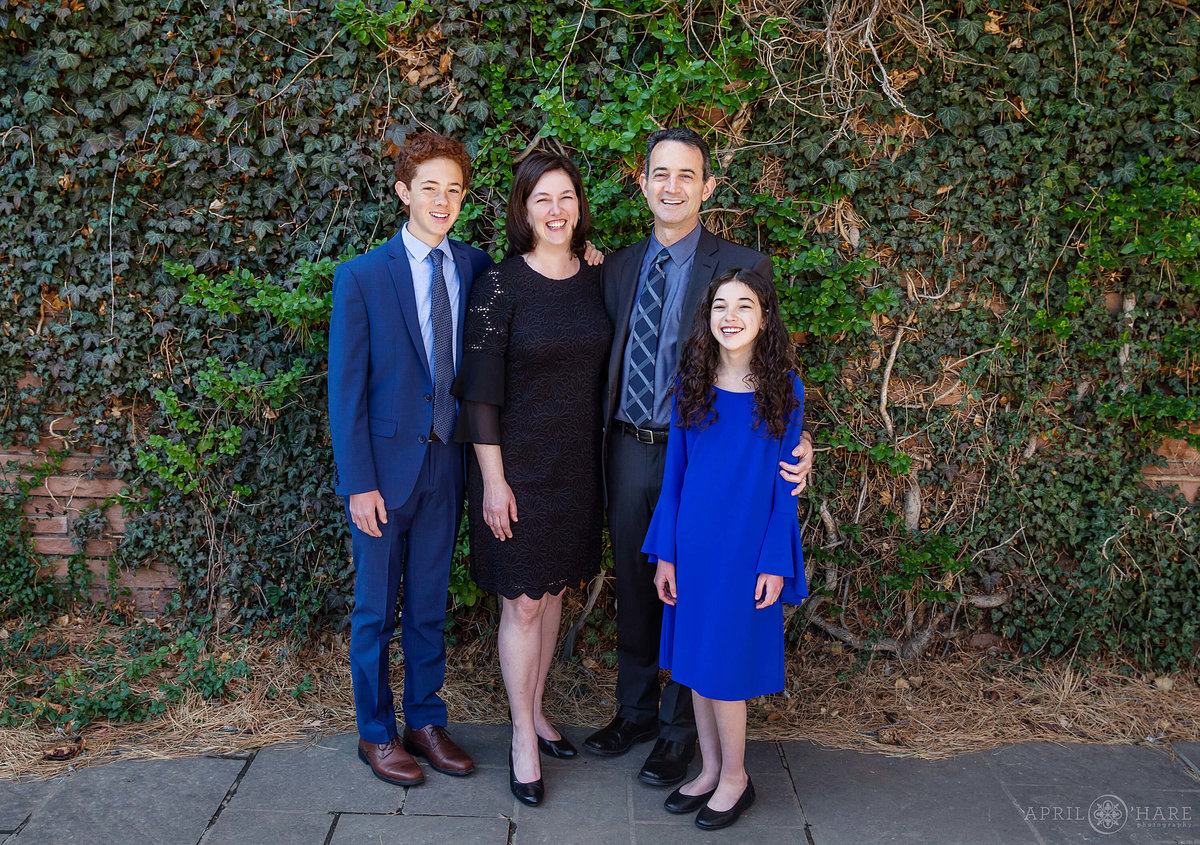Family photos at Temple Emanuel in Denver Colorado