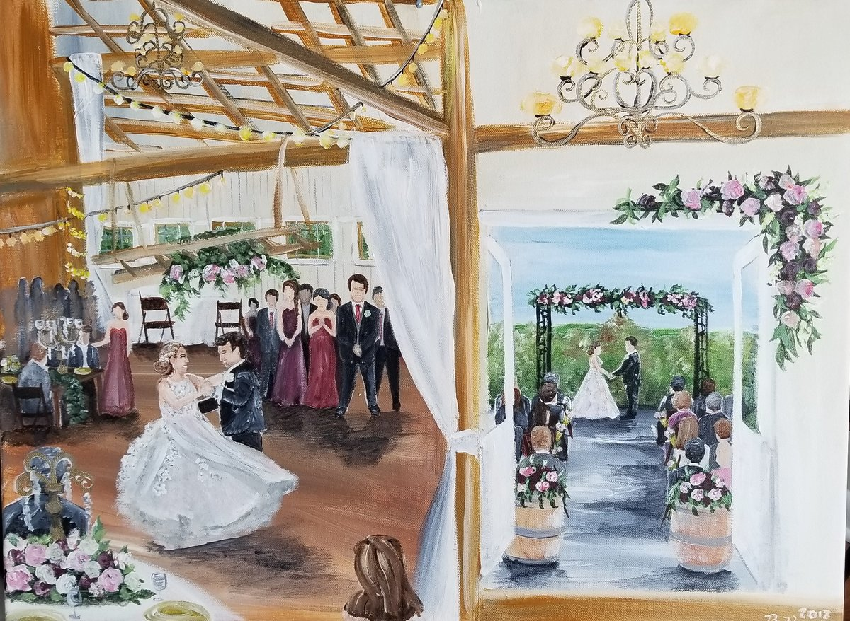 Duel wedding ceremony and first dance live wedding painting at Shadow Creek horse barn in Leesburg Virginia