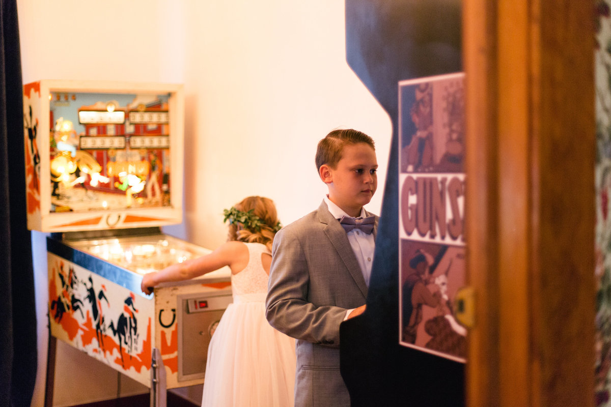 Kids playing games at 1880 Union Hotel Wedding