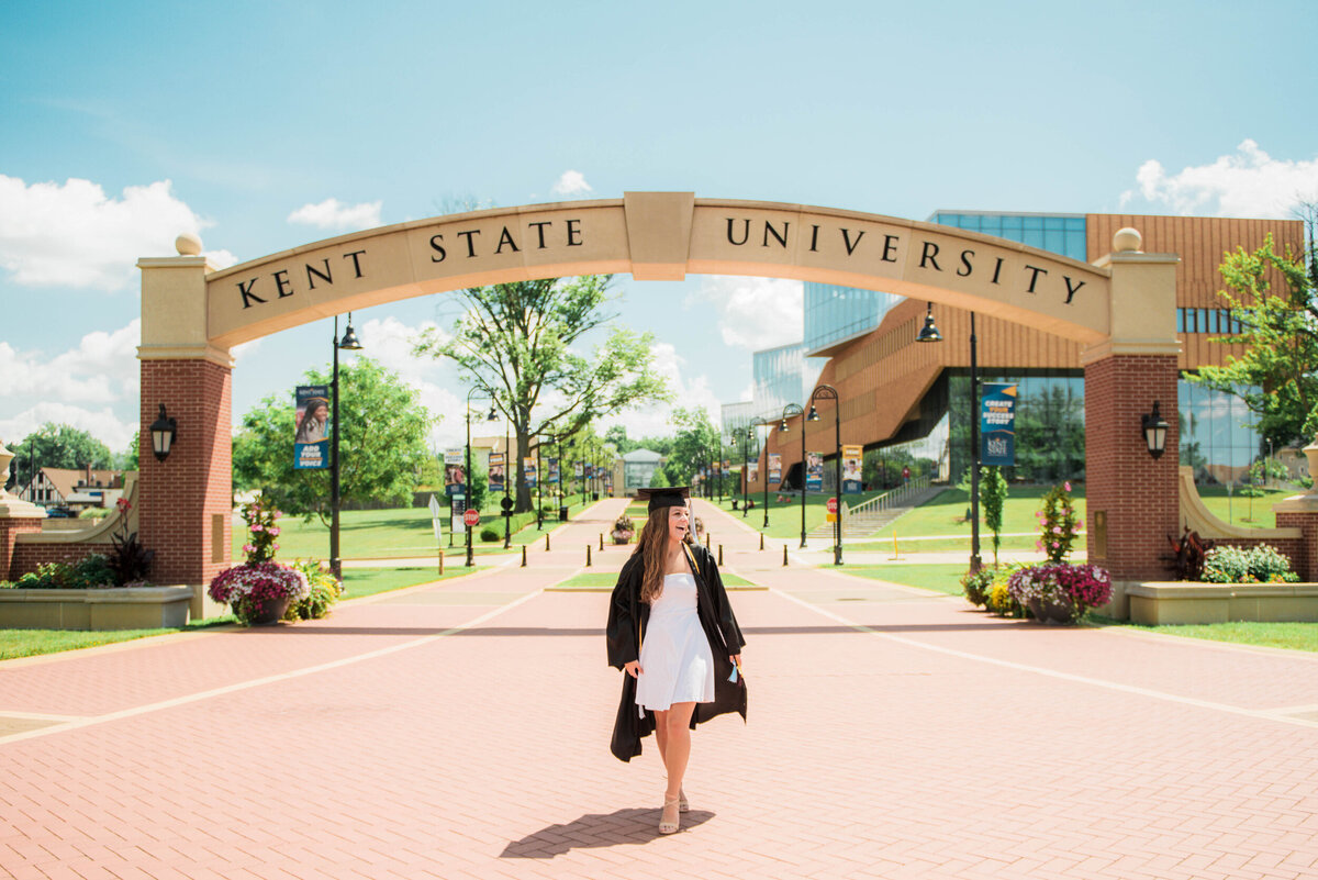 Girl in Graduation Cap and Gown at Kent State University