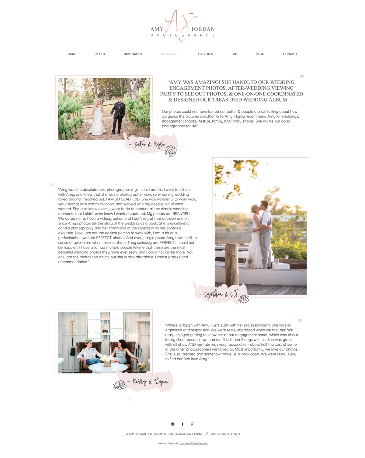 Pastel photography website design by Tribble Design Co.