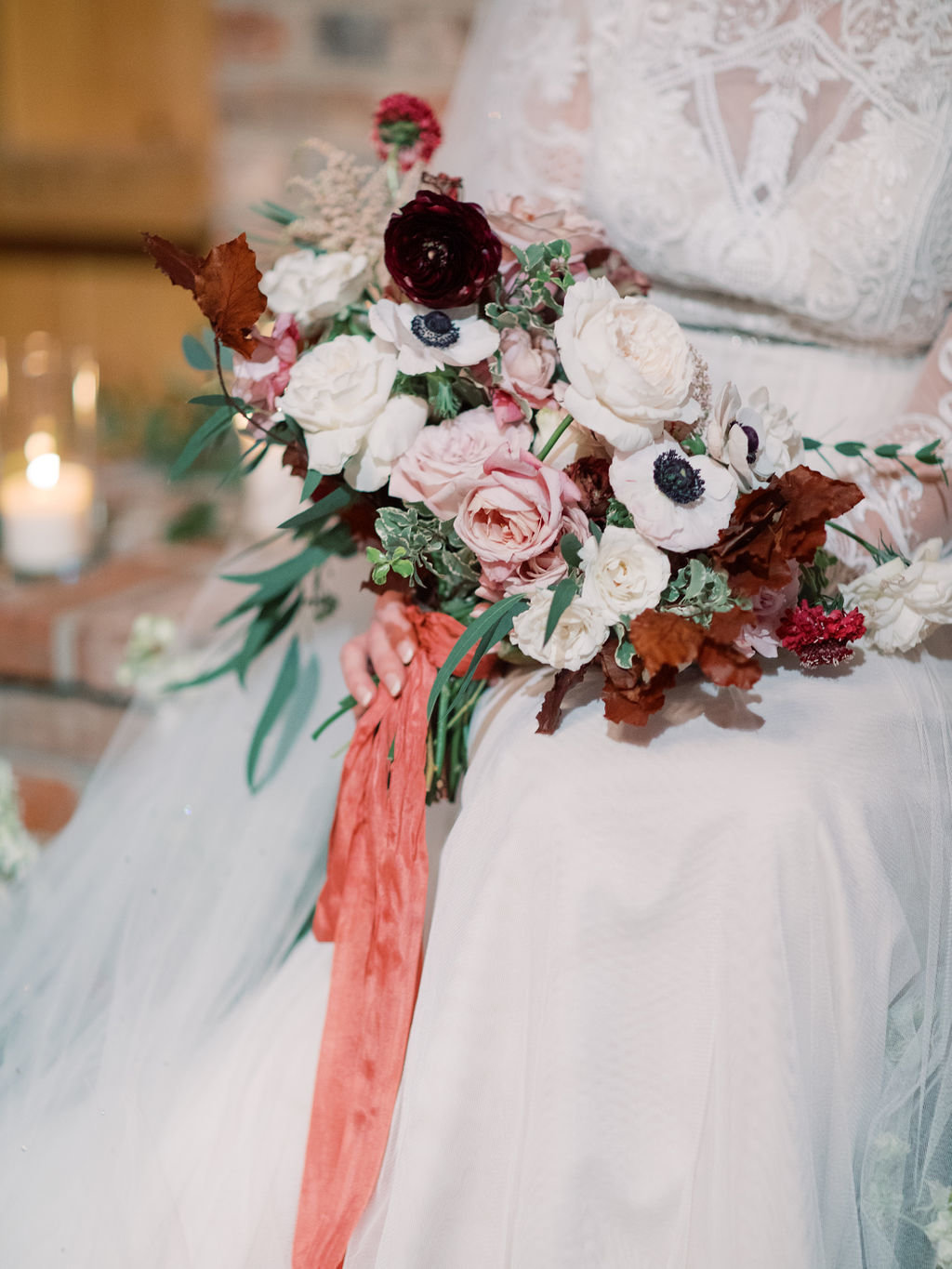 fall bridal bouquet pink white rust Delaware florist