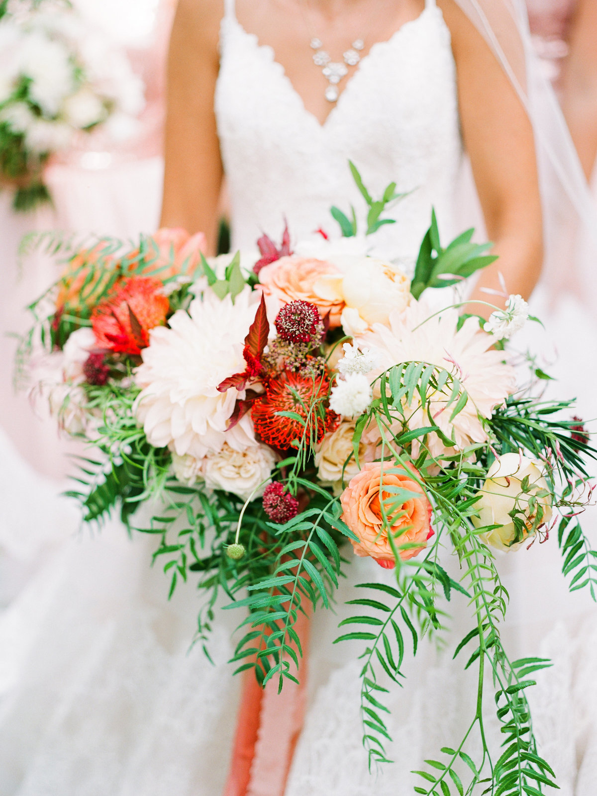 orange blush and greenery wedding bouquet