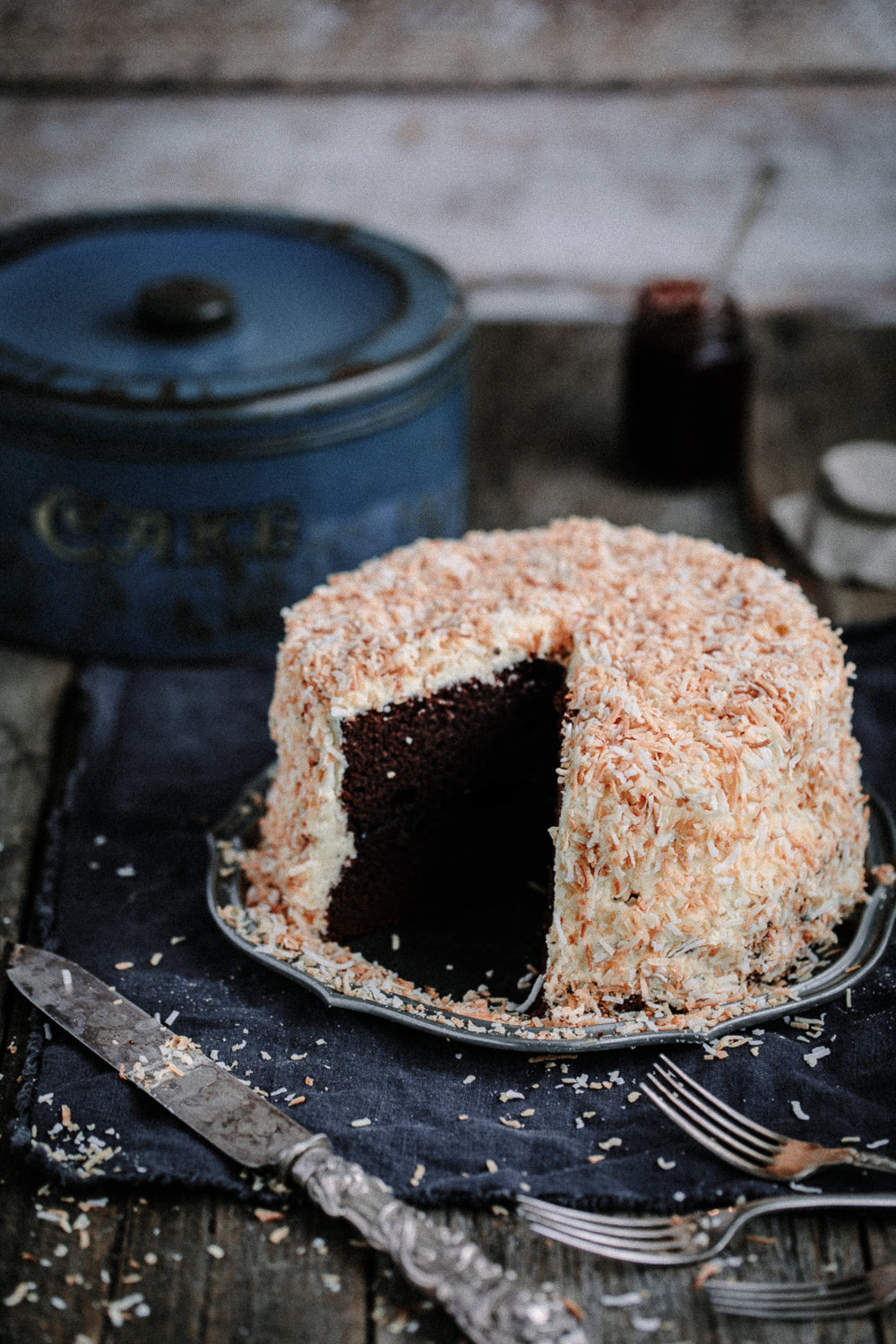 Chocolate Raspberry Jam Layer Cake with White Chocolate Buttercream and Toasted Coconut | Anisa Sabet | The Macadames-21