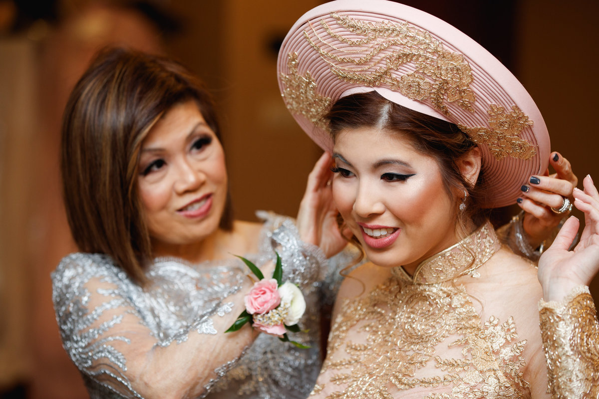 hotel granduca wedding photographer vietnamese wedding asian mother daughter bride traditional hat 320 S Capital of Texas Hwy, West Lake Hills, TX 78746