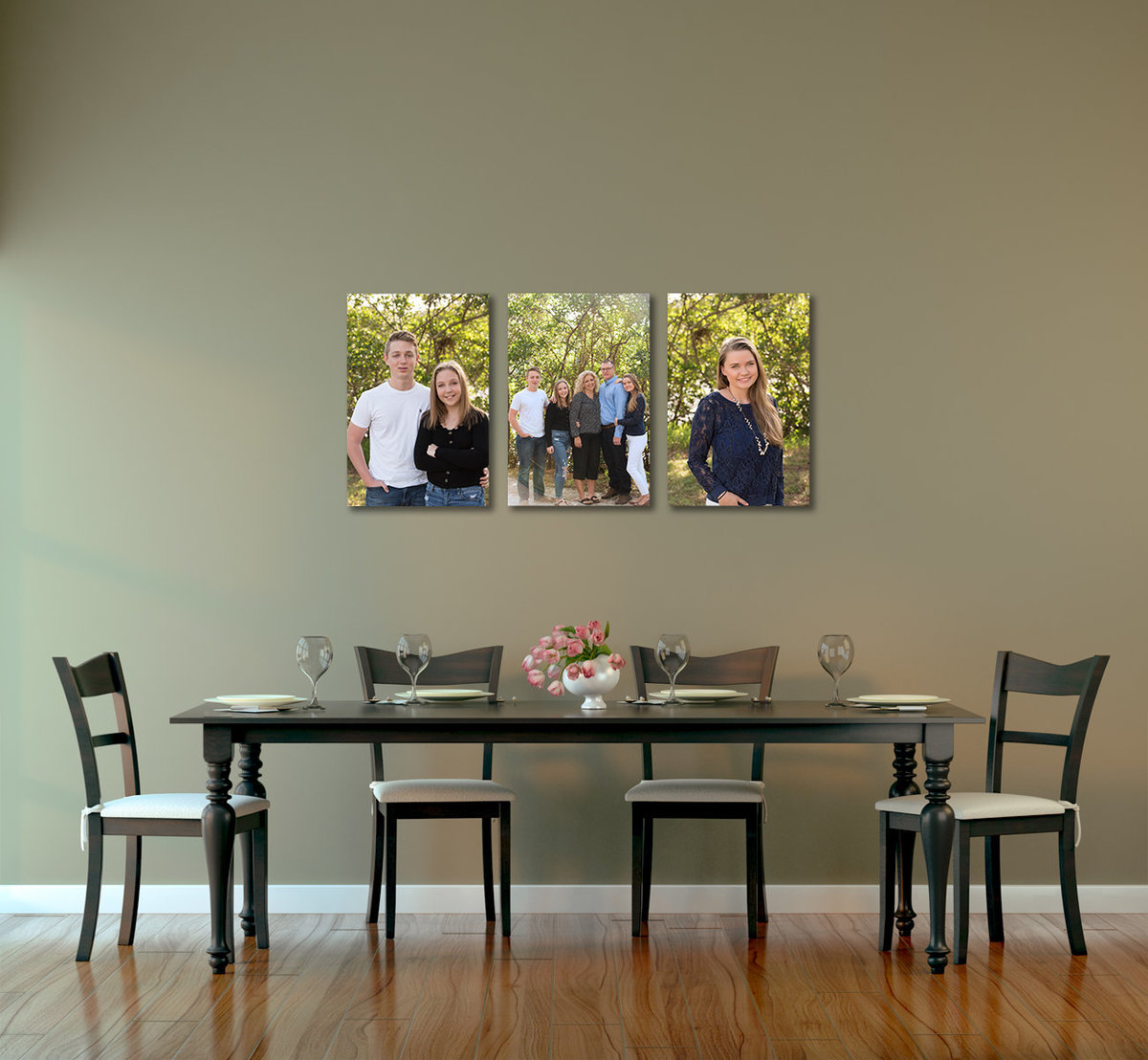 Family Photos on Canvases in Dining Room