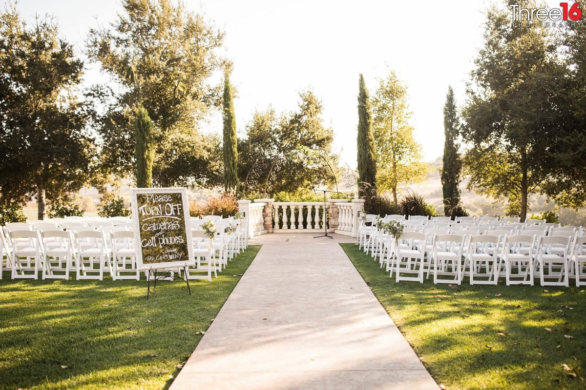 Wedding Ceremony setup at the Vellano Country Club