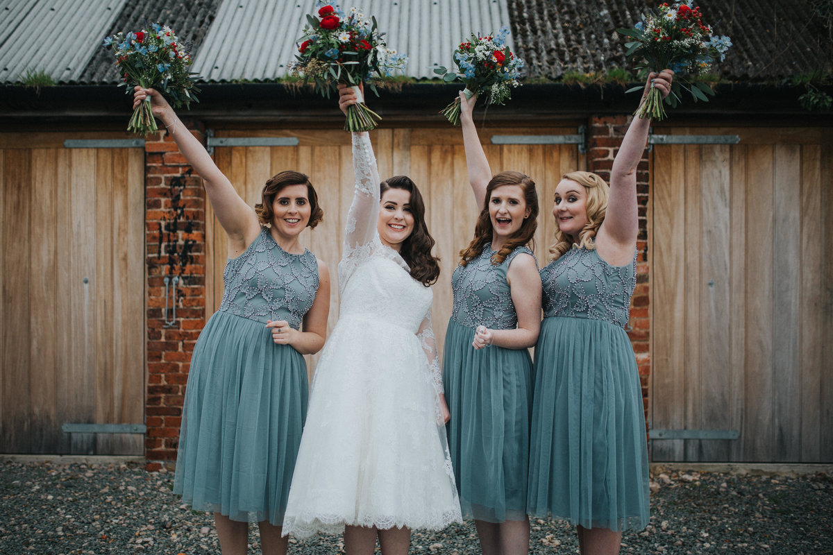 vintage bridesmaids at Shustoke Farm Barns