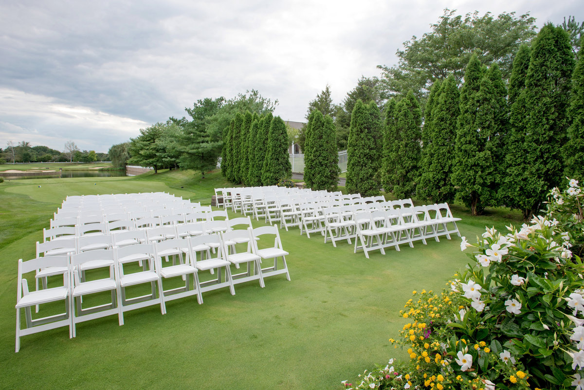 photo of ceremony set up on the golf course at Willow Creek Golf and Country Club wedding