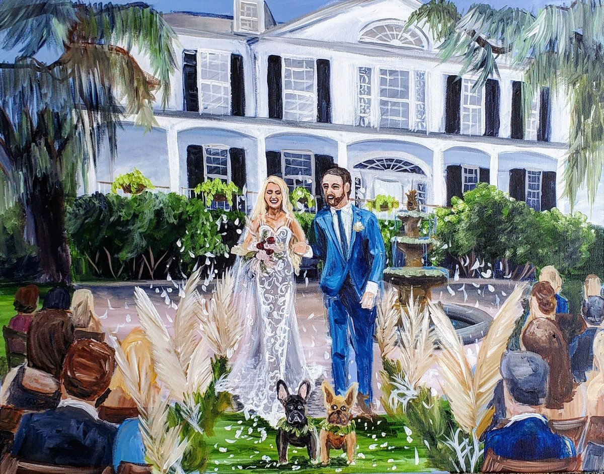 Live wedding painting of a bride and groom walking up the aisle at Governor Thomas Bennett House in Charleston South Carolina