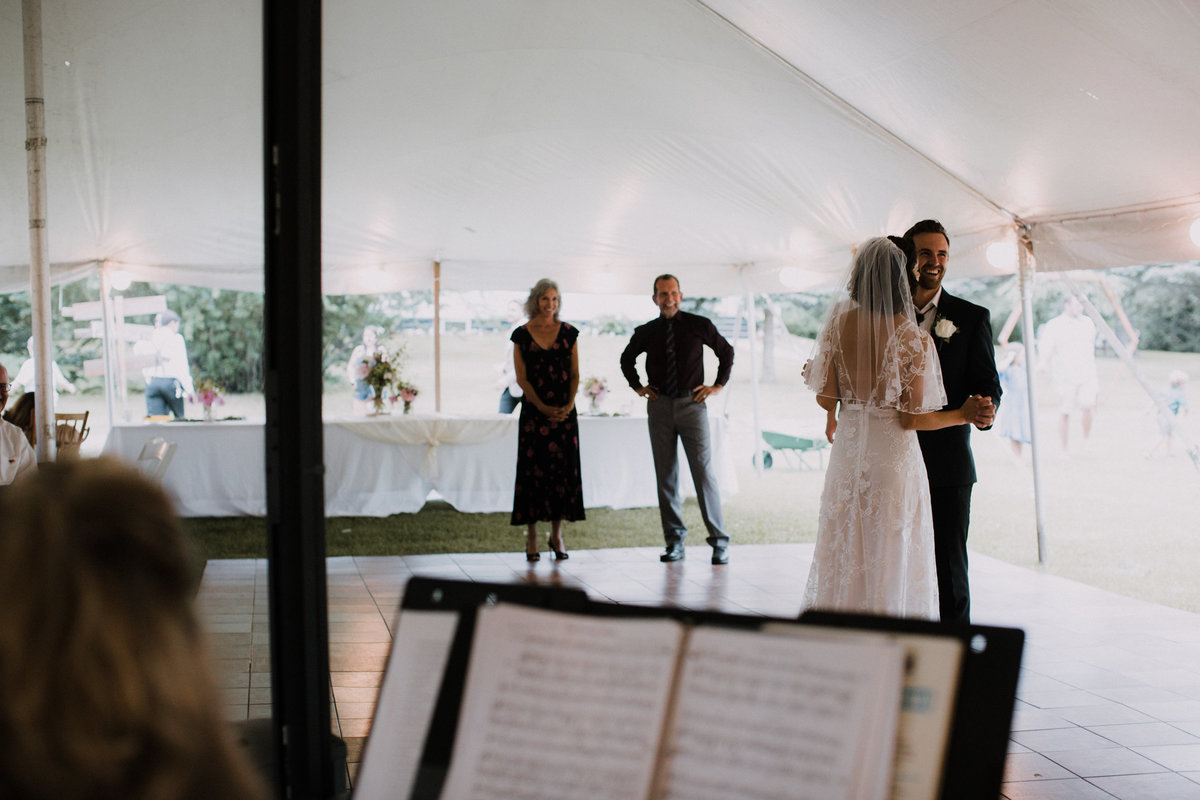 First dance of bride and groom in Montana wedding reception