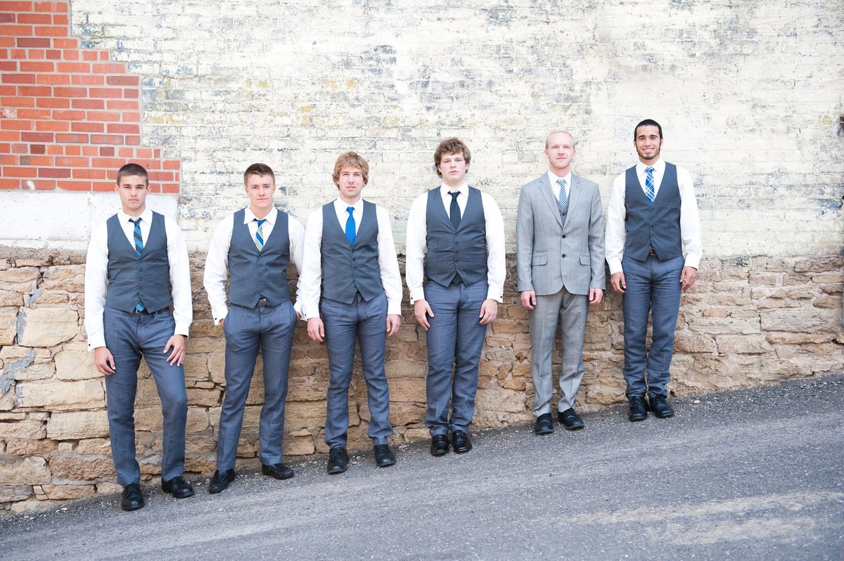 Groomsmen in gray, unique and unusual groomsmen photos photographed by Kris Kandel photographer