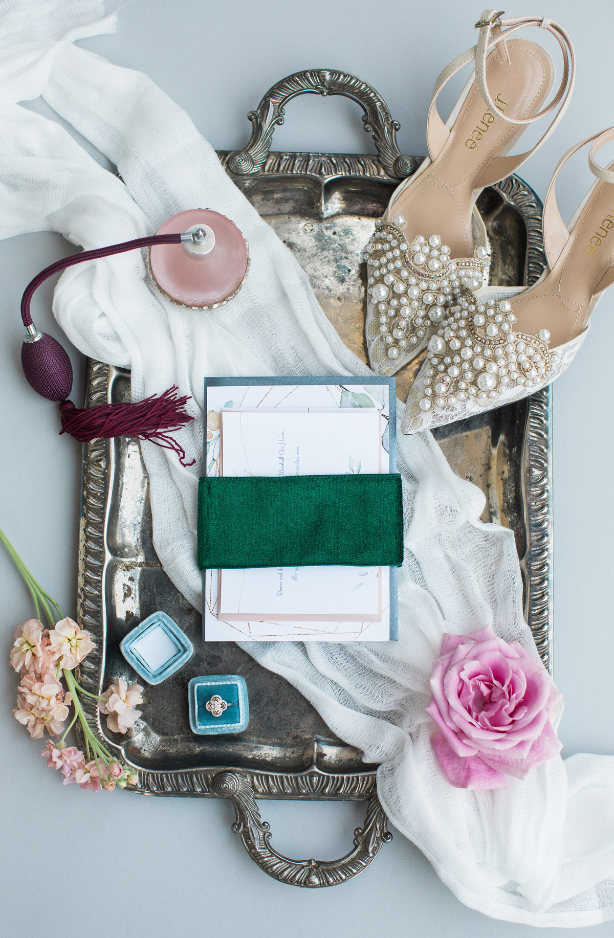 Greenville  Wedding Photographer, bridal flat lay