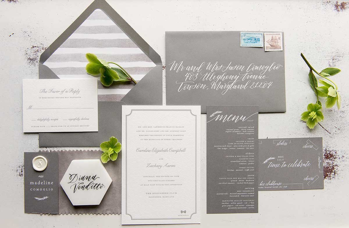 CarolineZach-InvitationSuite-GreyWhite-EngineersClub-Baltimore
