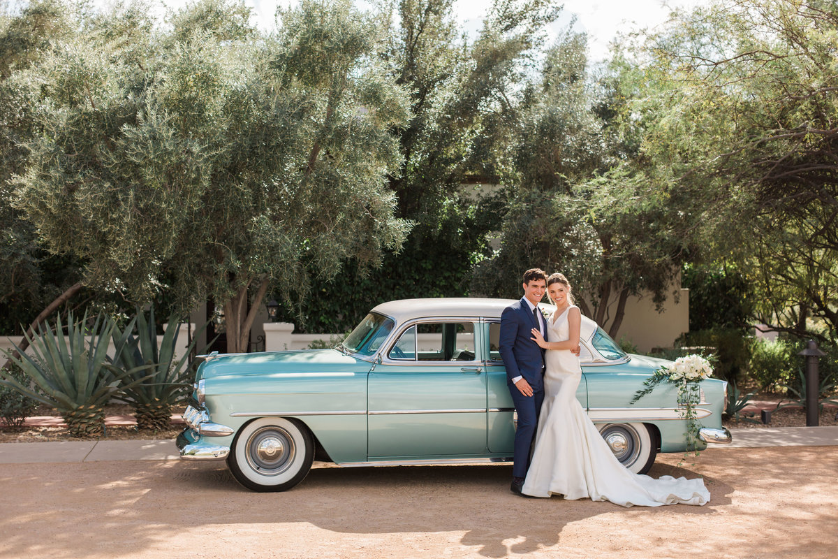El Chorro wedding, vintage car