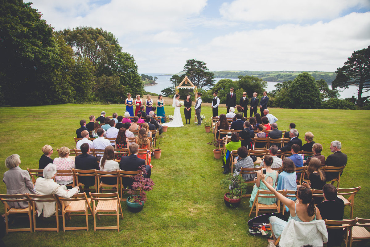 Outside wedding ceremony Cornish photographer