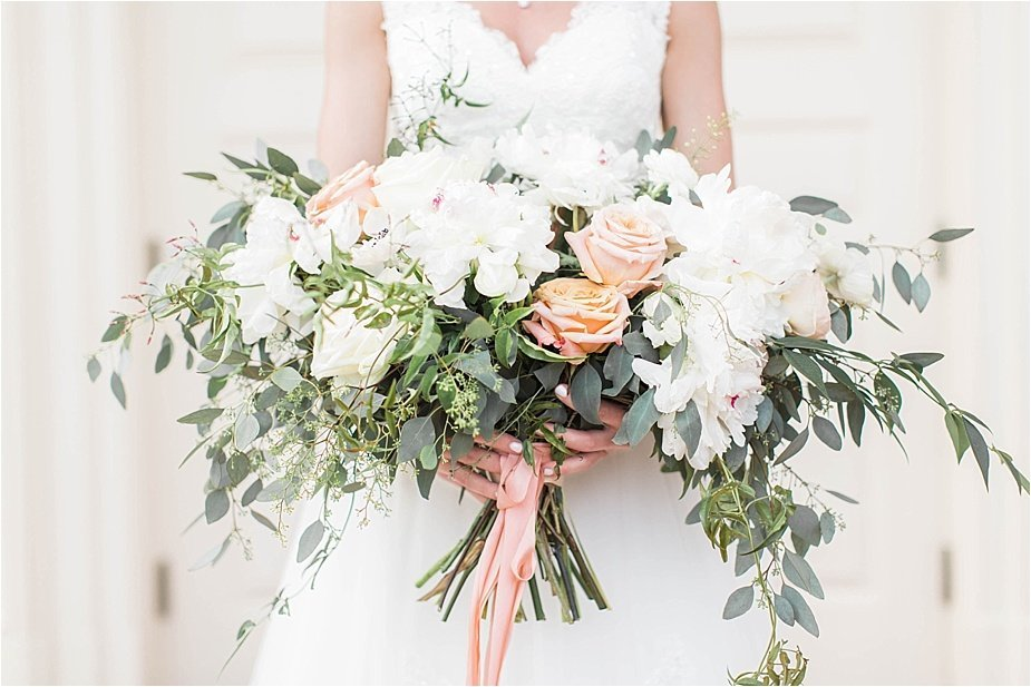 Southern Organic Romantic Wedding Bouquet with Ribbon