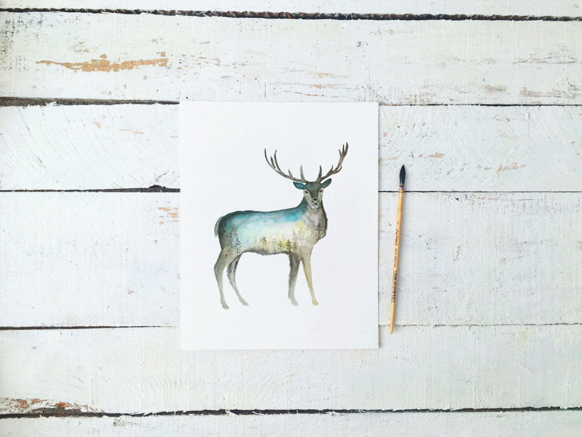 Galaxy_Deer_Buck_Profile_Mountain_Night_Printable_Artwork_-_Animal_Nursery_-_Watercolor_-_Northern_L-482415380-_5