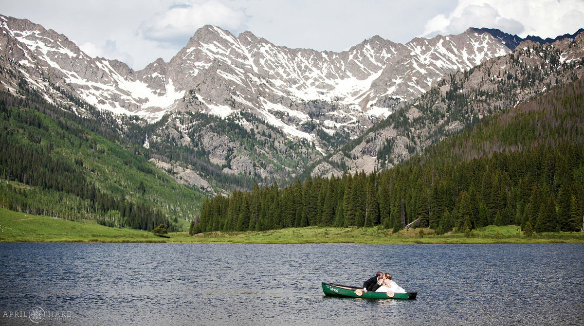 Vail Colorado Wedding Photographer Canoe on the Lake at Piney River Ranch