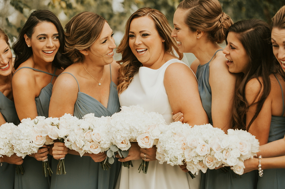Rustic Farm Wedding Bride and Bridesmaids with Bouquets