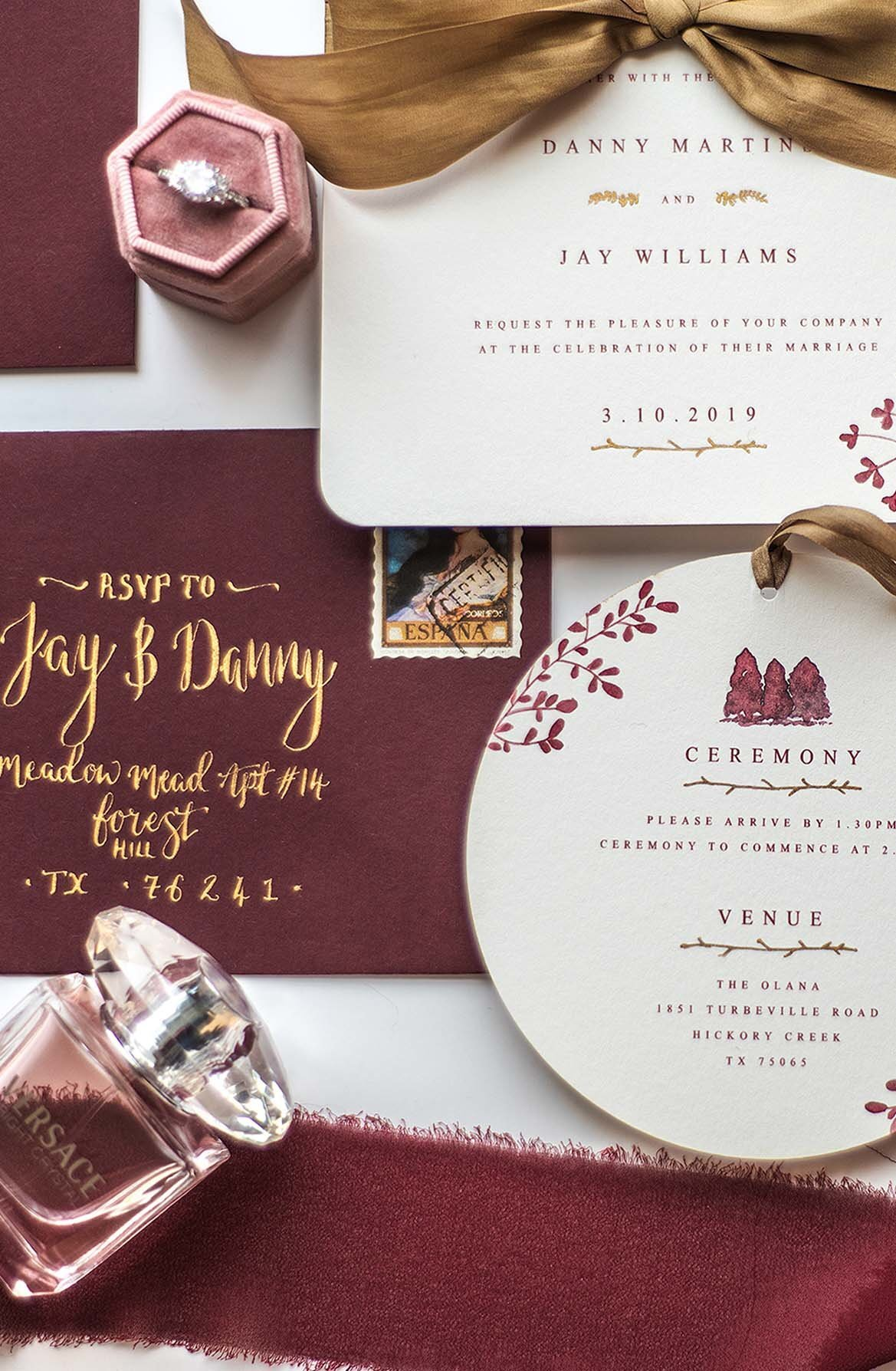 red gold wedding stationery