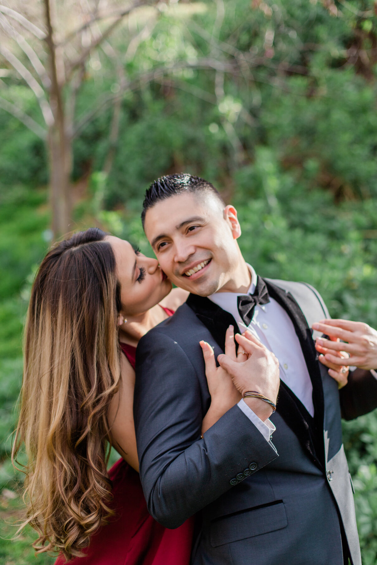 UC Riverside Botanical Gardens, Engagement Photography, Riverside Phototgrapher, Garden Engagement, Couple Photography, Red Dress-23