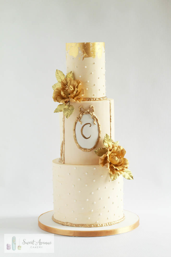 ivory and gold 50th anniversary wedding cake with gold flowers, Hamilton ON wedding cakes