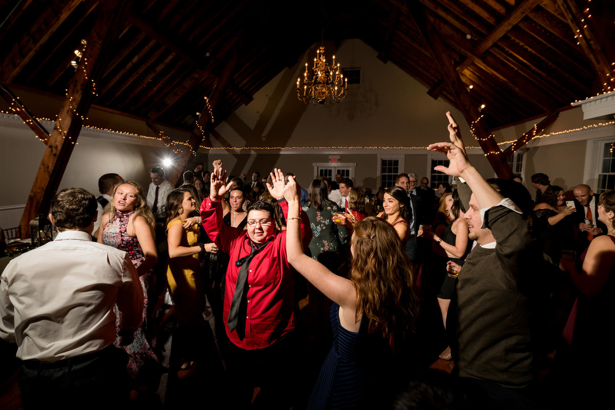 dancing during reception in NH barn wedding venue