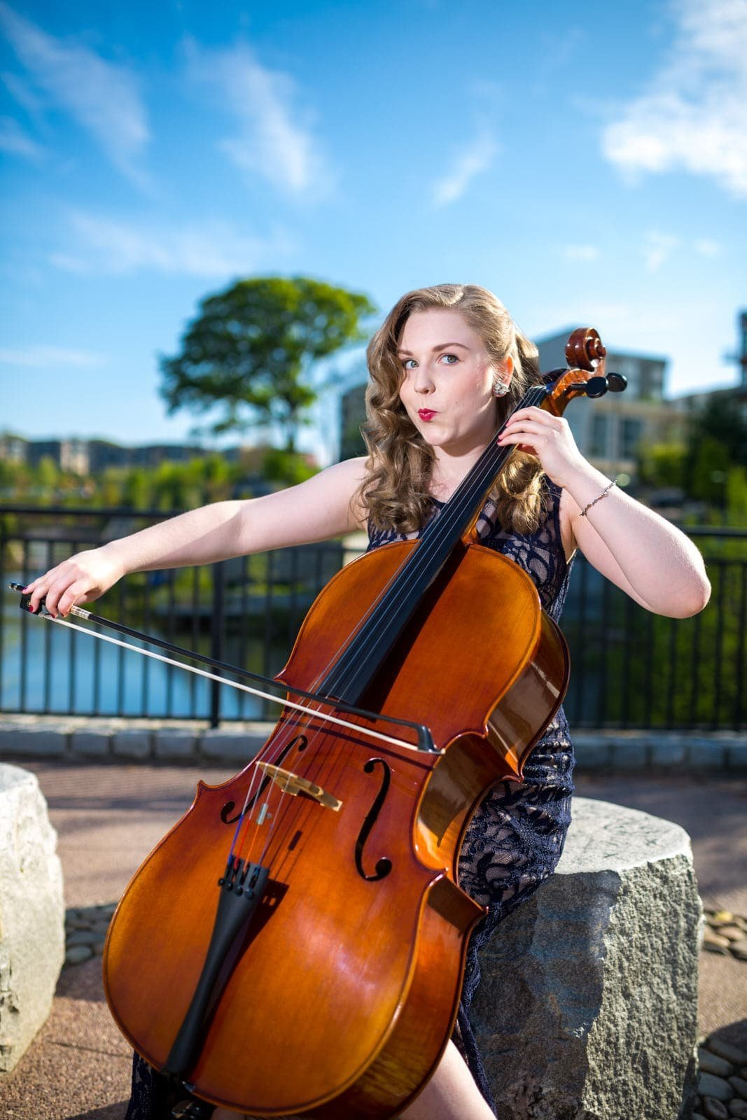 high school senior plays cello at Old Fourth Ward park