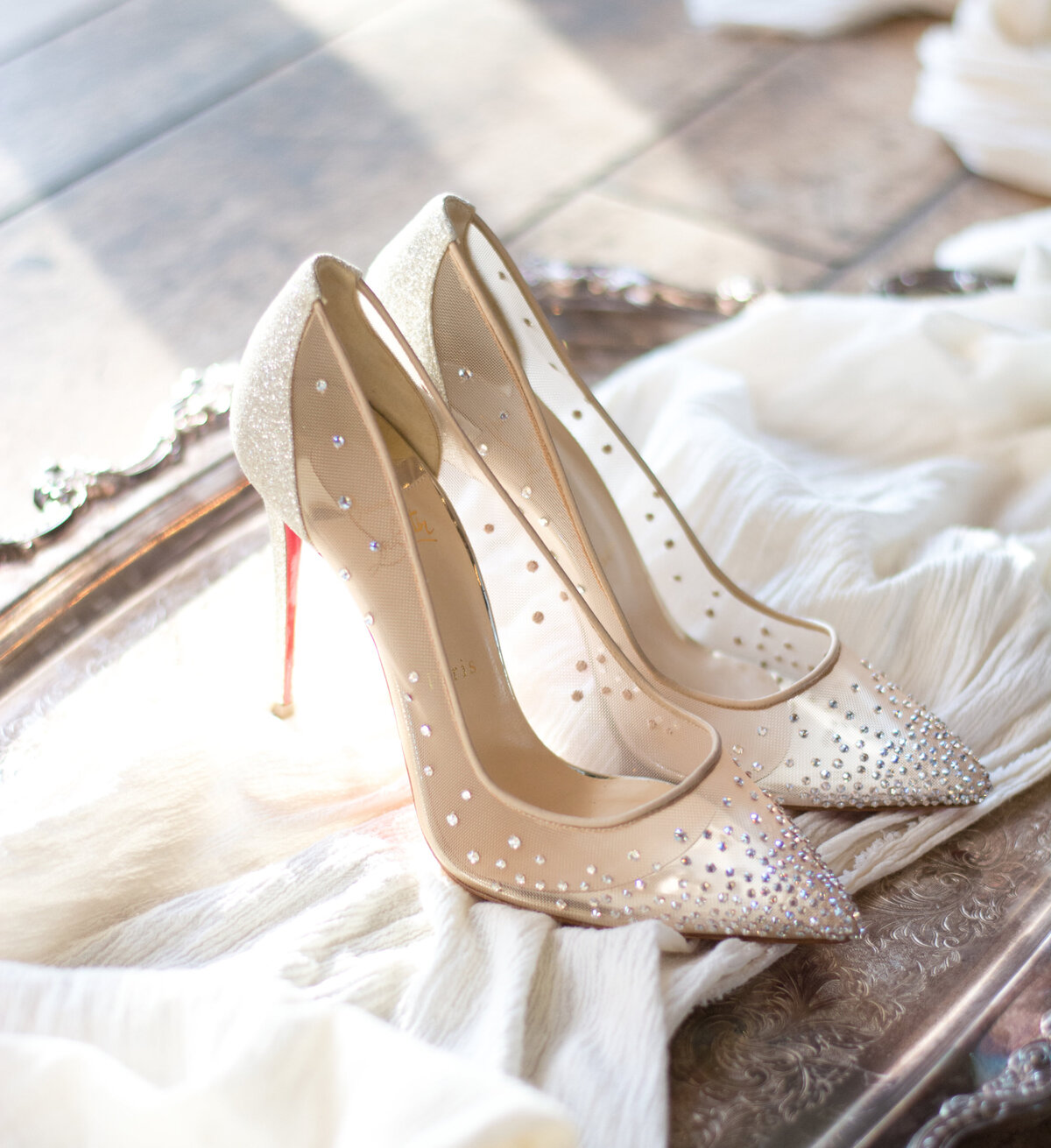 Christian Louboutin wedding shoes on tray