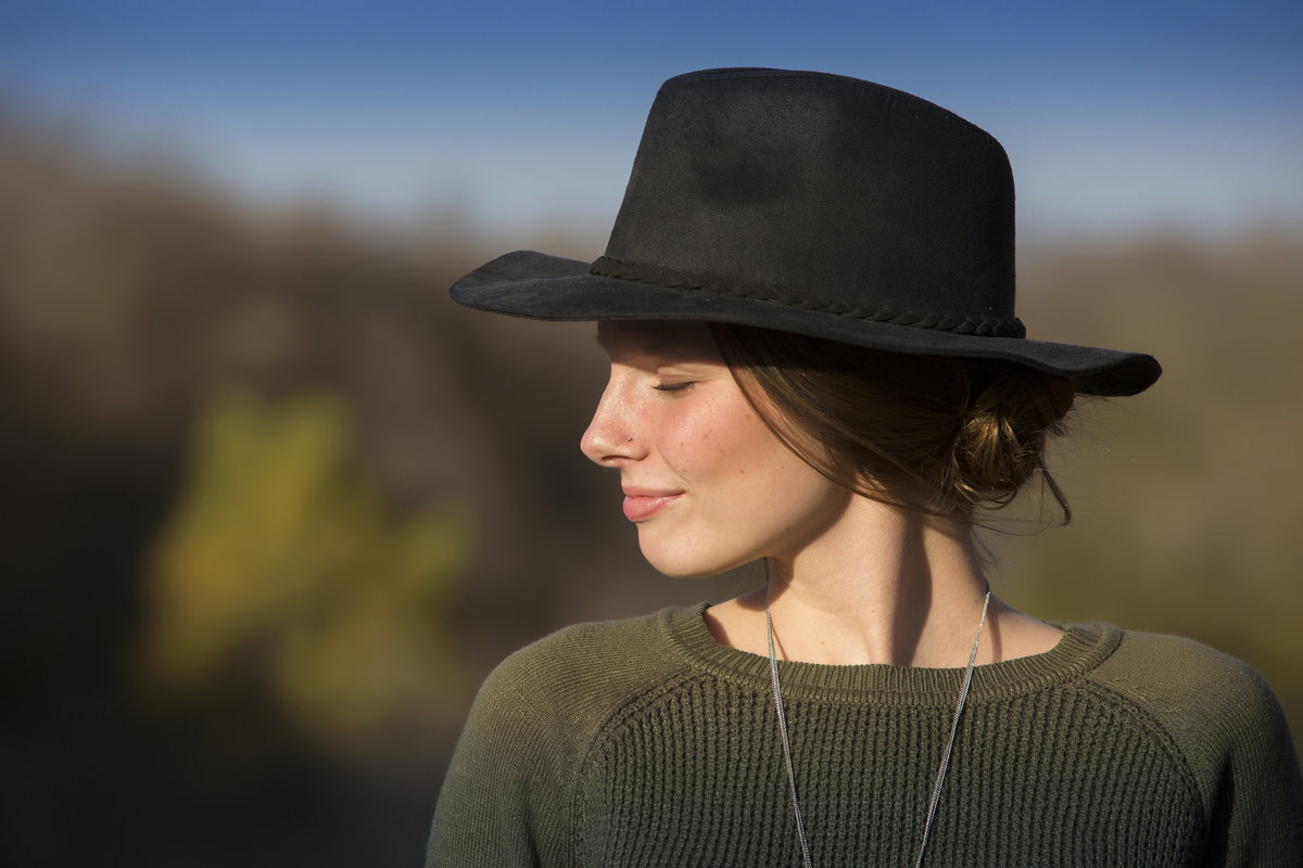 sioux falls south dakota girl with hat in sunlight palisades state park