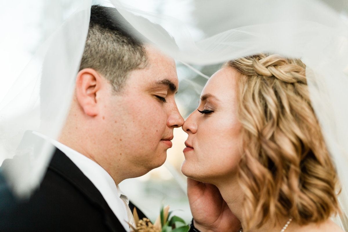 close up headshot of a bride and groom