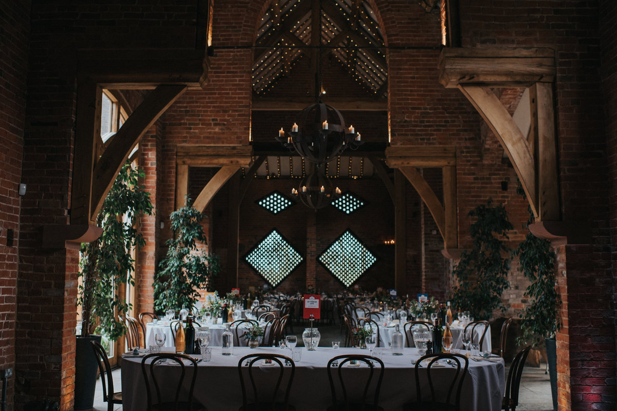 reception at Shustoke Farm Barns Wedding venue in Warwickshire