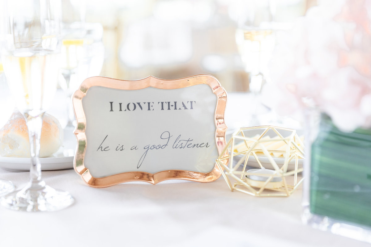 Wedding table decor idea reasons why bride and groom love each other in rose gold frames at Liberty House wedding