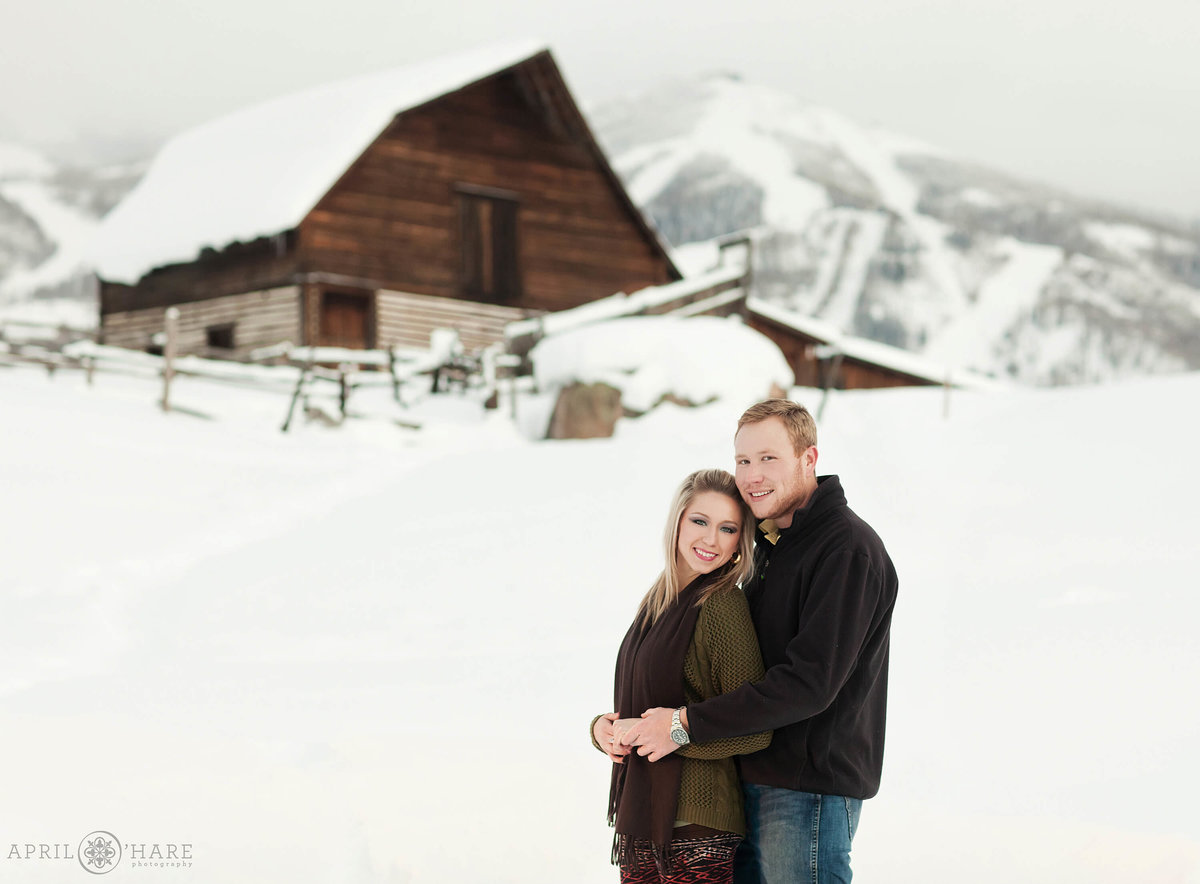 Historic More Barn Engagement Photography during Winter in Steamboat Springs Colorado