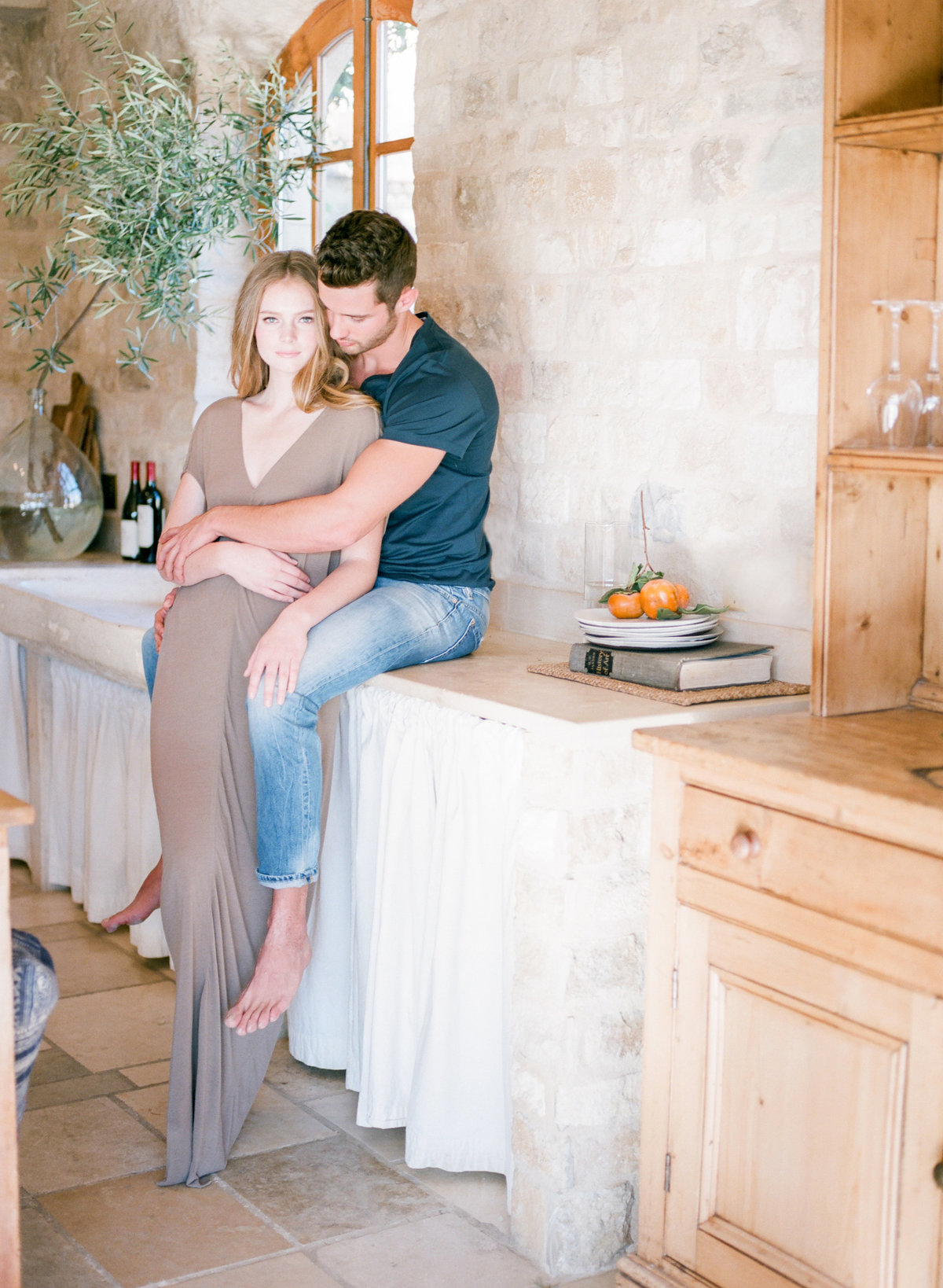 Romantic Kitchen Engagement Photos California