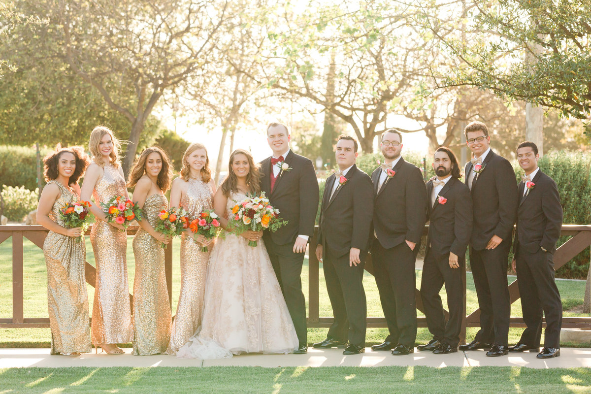 bridal party during golden hour portraits