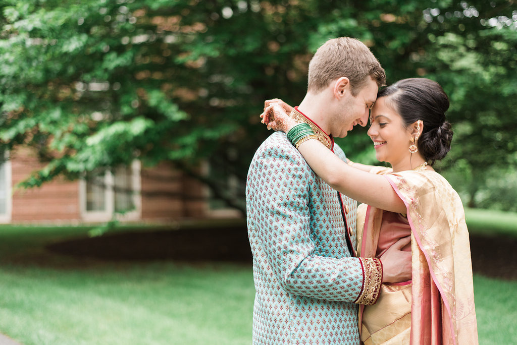 indian bride and groom portraits