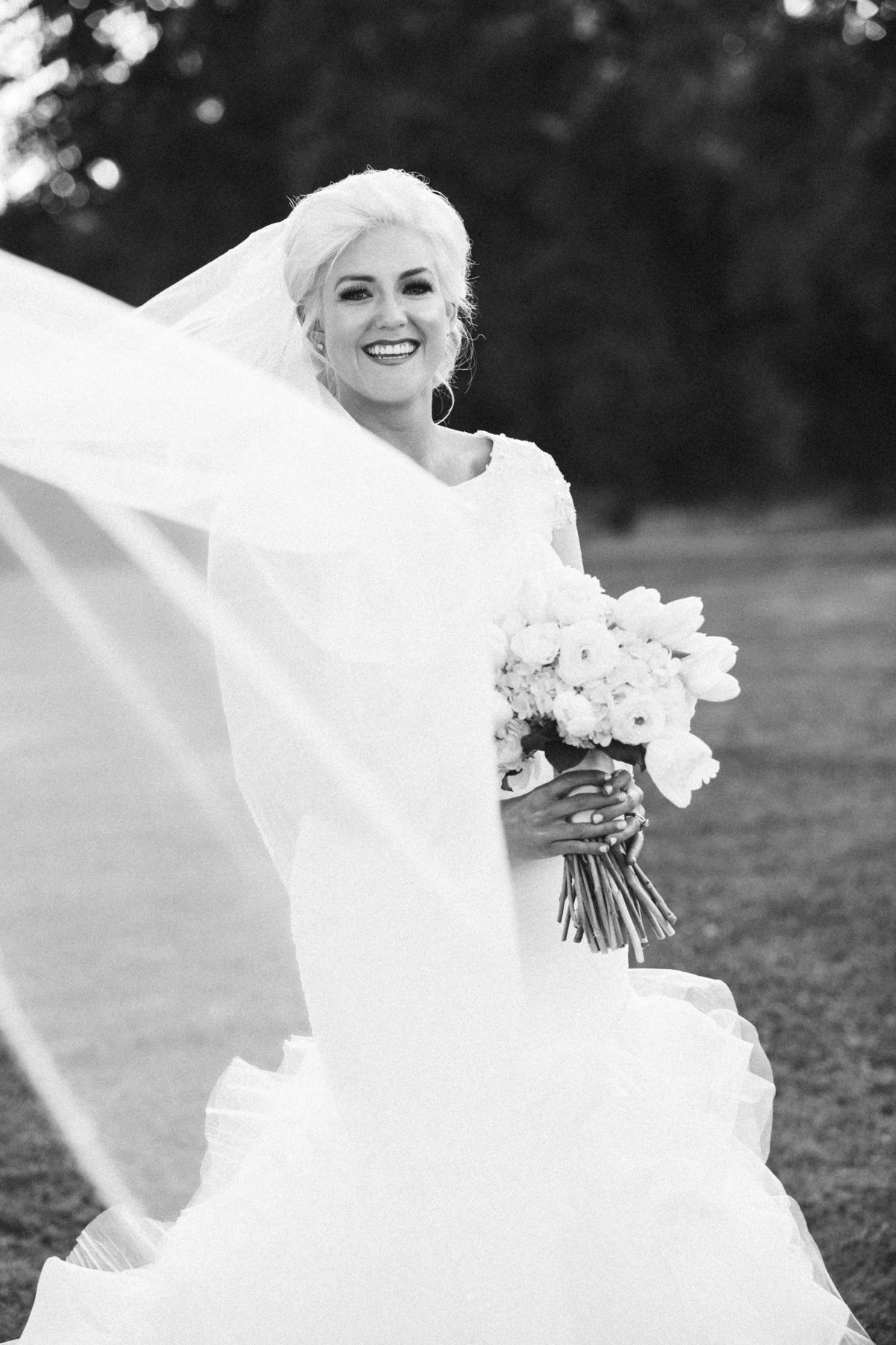 Sacramento bride with veil black and white photo