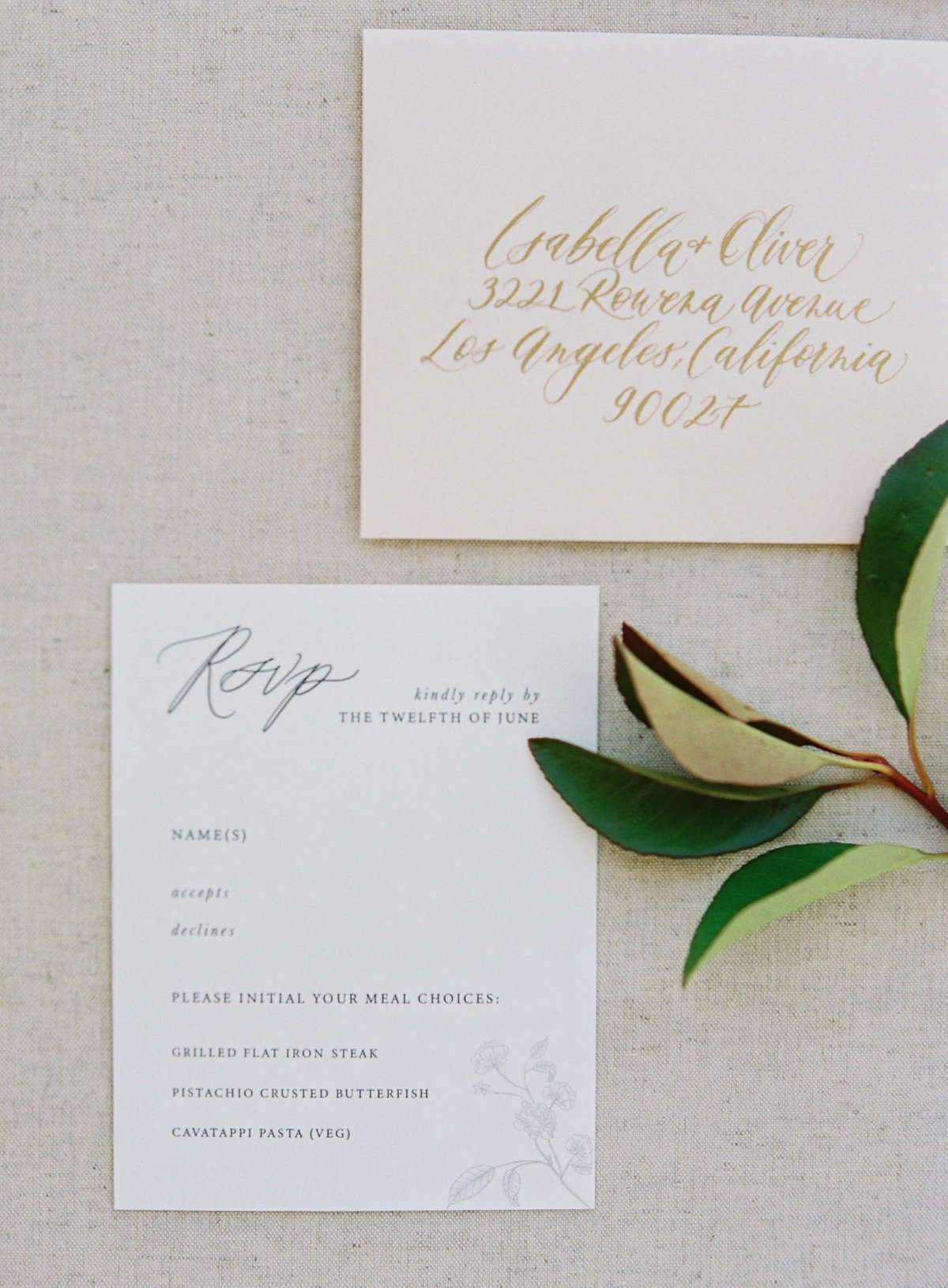 Plume & Fete collections romantic garden wedding invitation suite response card